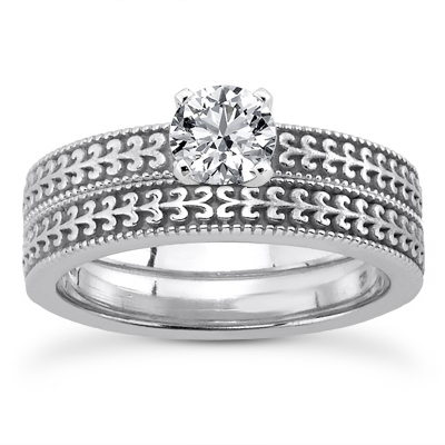 CZ Engraved Bridal Ring Set in 14K White Gold
