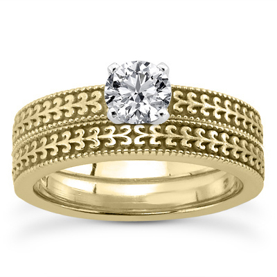 0.50 Carat Engraved 14K Yellow Gold Wedding Ring Set