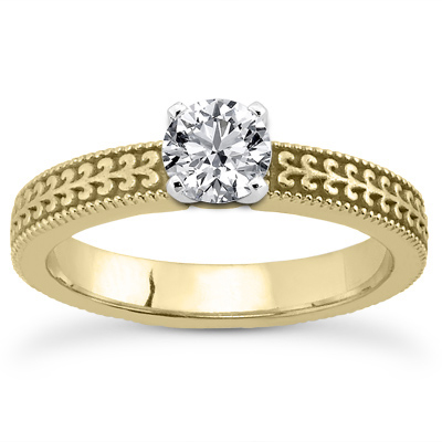 CZ Filigree Engagement Ring in 14K Yellow Gold
