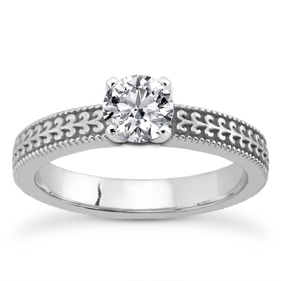 Cubic Zirconia Engraved Engagement Ring