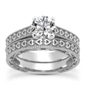 0.25 Carat Engraved Heart Bridal Ring Set in 14K White Gold