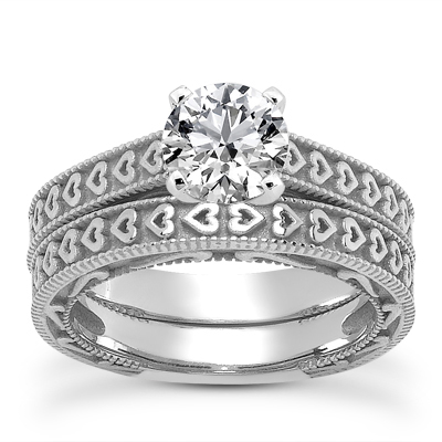 Engraved Hearts CZ Engagement Set in 14K White Gold