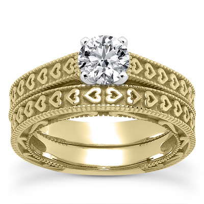 Engraved Hearts CZ Engagement Set in 14K Yellow Gold