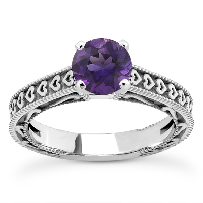 Engraved Hearts Amethyst Ring, 14K White Gold