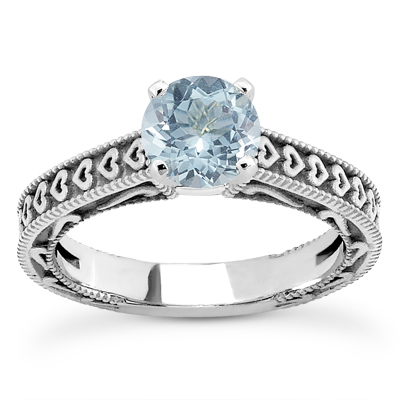 Engraved Hearts Aquamarine Ring