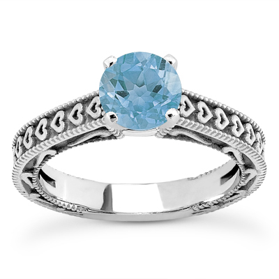 Engraved Hearts Blue Topaz Ring