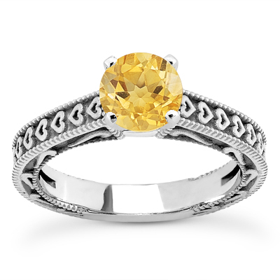 Engraved Hearts Citrine Ring