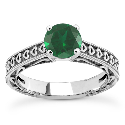 Engraved Hearts Emerald Ring