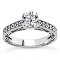 Engraved Heart Cubic Zirconia Engagement Ring