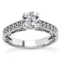 Engraved Hearts White Topaz Ring