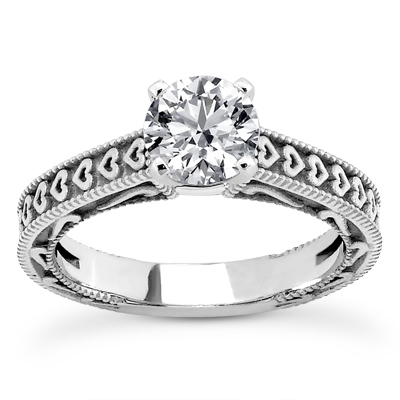 1/3 Carat Engraved Hearts Diamond Engagement Ring