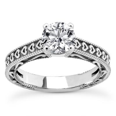 1/3 Carat Engraved Hearts Diamond Engagement Ring