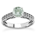 Engraved Hearts Green Amethyst Ring
