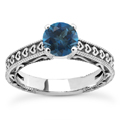 Engraved Hearts London Blue Topaz Ring