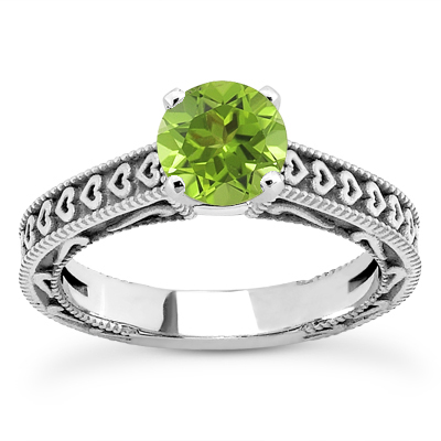 Engraved Hearts Peridot Ring