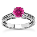 Engraved Hearts Pink Topaz Ring
