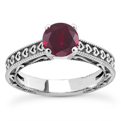 Engraved Hearts Ruby Engagement Ring