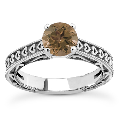 Engraved Hearts Smoky Quartz Ring