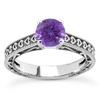 Engraved Hearts Tanzanite Ring.