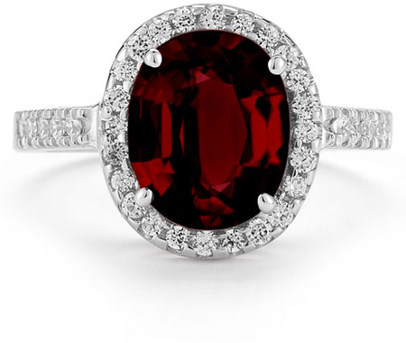 Garnet and Diamond Cocktail Ring in 14K White Gold