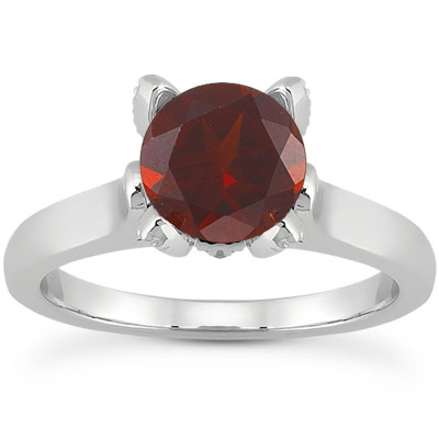 Garnet and Diamond Accent Solitaire Engagement Ring