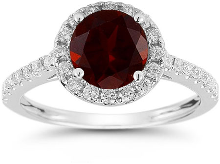 Garnet and Diamond Halo Gemstone Ring in 14K White Gold