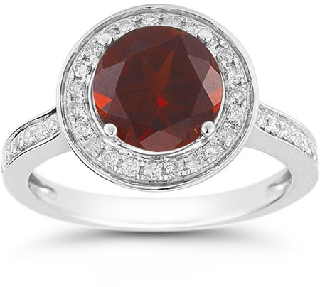 Garnet and Diamond Halo Ring in 14K White Gold