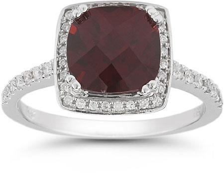 Garnet and Pave Diamond Halo Ring in 14K White Gold