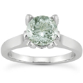 Green Amethyst and Diamond Accent Solitaire Engagement Ring