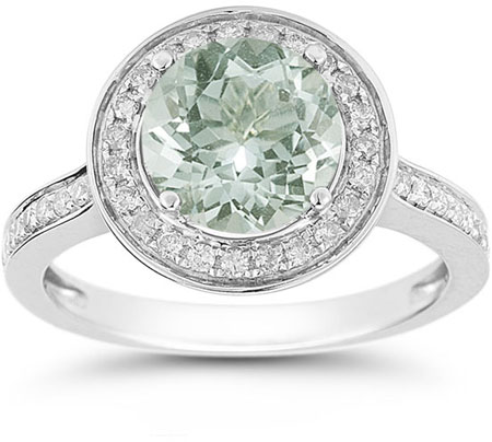 Green Amethyst and Diamond Halo Ring in 14K White Gold