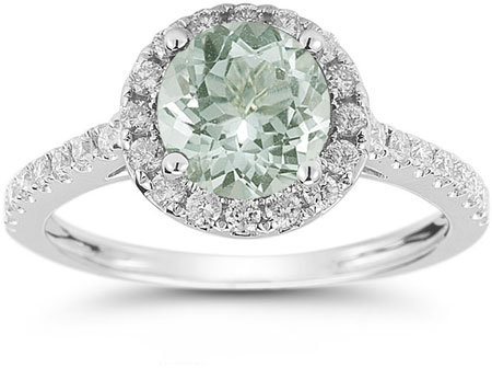Green Amethyst and Diamond Halo Gemstone Ring in 14K White Gold