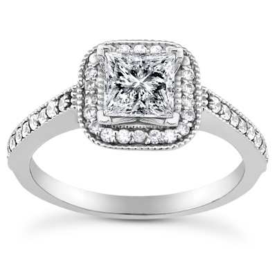3/4 Carat Princess-Cut Halo Diamond Engagement Ring