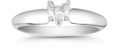 0.25 Carat Heart-Shaped Diamond Solitaire Ring in 14K White Gold