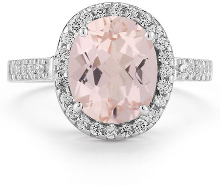 Kunzite and Diamond Cocktail Ring in 14K White Gold