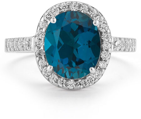 London Blue Topaz and Diamond Cocktail Ring in 14K White Gold