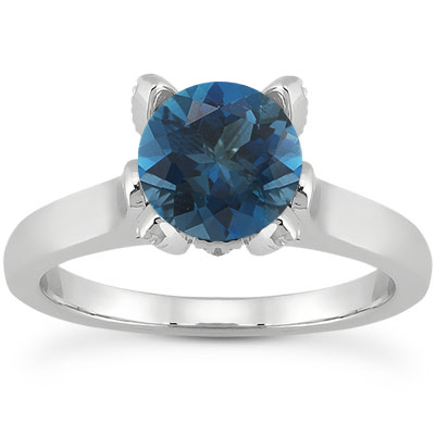 London Blue Topaz and Diamond Accent Solitaire Engagement Ring