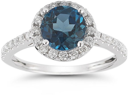 London Blue Topaz and Diamond Halo Gemstone Ring in 14K White Gold