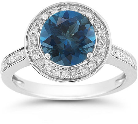 London Blue Topaz and Diamond Halo Ring in 14K White Gold