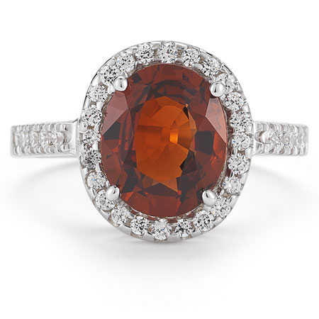 Mandarin Garnet and Diamond Cocktail Ring in 14K White Gold