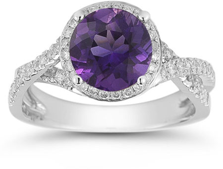 Micro Pave Halo Amethyst Ring in 14K White Gold