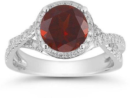Micro Pave Halo Garnet Ring in 14K White Gold