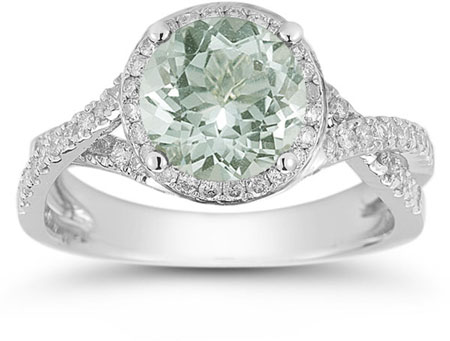 Micro Pave Halo Green Amethyst Ring in 14K White Gold