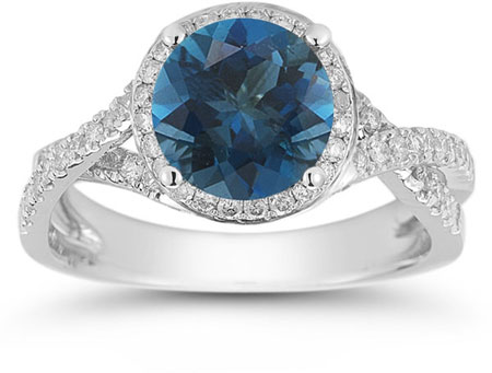 Micro Pave Halo London Blue Topaz Ring in 14K White Gold