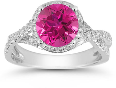Micro Pave Halo Pink Topaz Ring in 14K White Gold