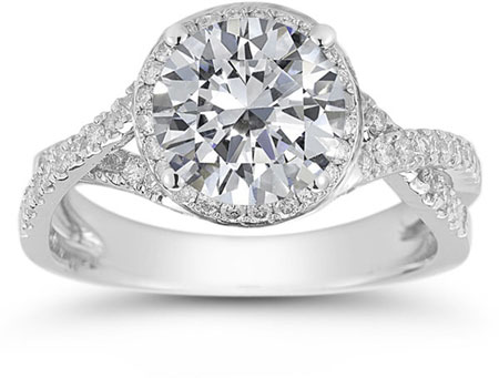 Micro Pave Halo Moissanite Ring in 14K White Gold