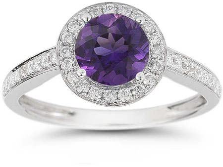 Modern Halo Amethyst Diamond Ring in 14K White Gold