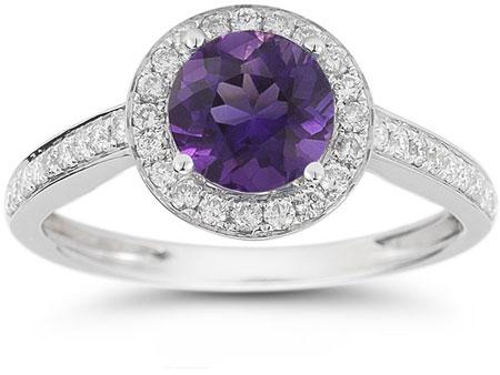 Modern Halo Amethyst Diamond Ring in 14K White Gold