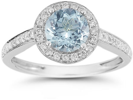Modern Halo Aquamarine Diamond Ring in 14K White Gold