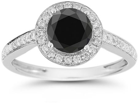 Modern Halo Black and White Diamond Ring in 14K White Gold