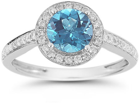 Modern Halo Blue Topaz Diamond Ring in 14K White Gold